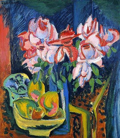 Pink Roses by Ernst Ludwig Kirchner... vrai fauve! :: Ernst Ludwig Kirchner :: 12-0046 Pink Roses by Ernst Ludwig Kirchner