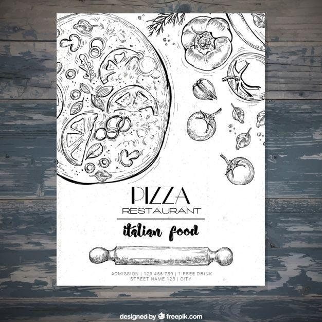 Italian restaurant brochure with pizza sketches Free Vector menu - restarunt brochure