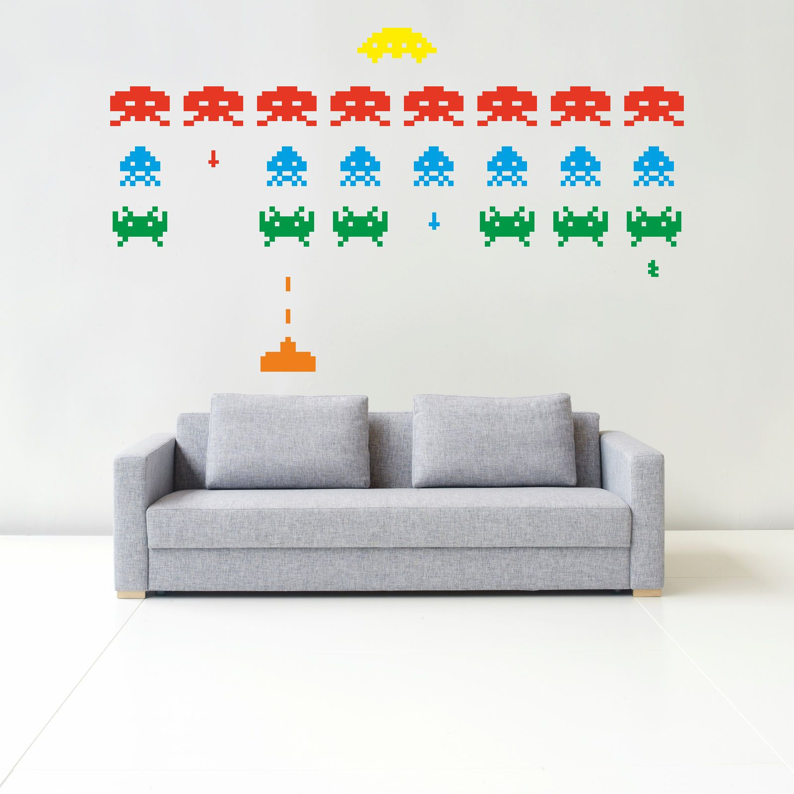 Space invaders retro wall sticker art bedroom gaming video kids