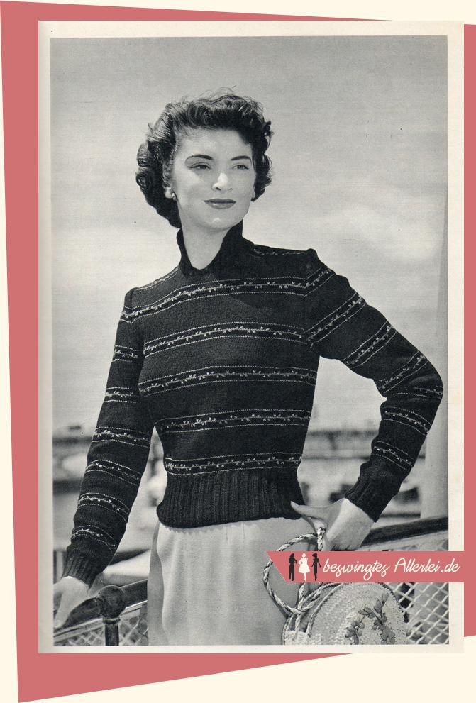 Anleitung: Gestrickter Damenpullover (ca. 1950) | Stricken ...