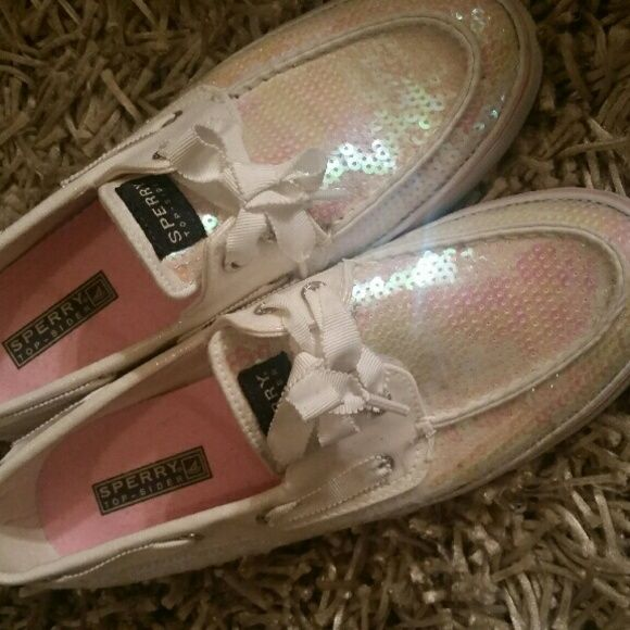 Sperrys worn once Worn once, white with white and pink sequin Sperry Top-Sider Shoes Flats & Loafers