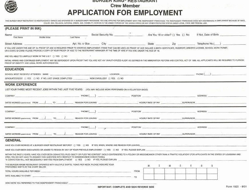 Mcdonalds Job Description Resume New Burger King Resume Jobs Sample Samplebusinessresu In 2020 Printable Job Applications Job Application Template Job Application Form