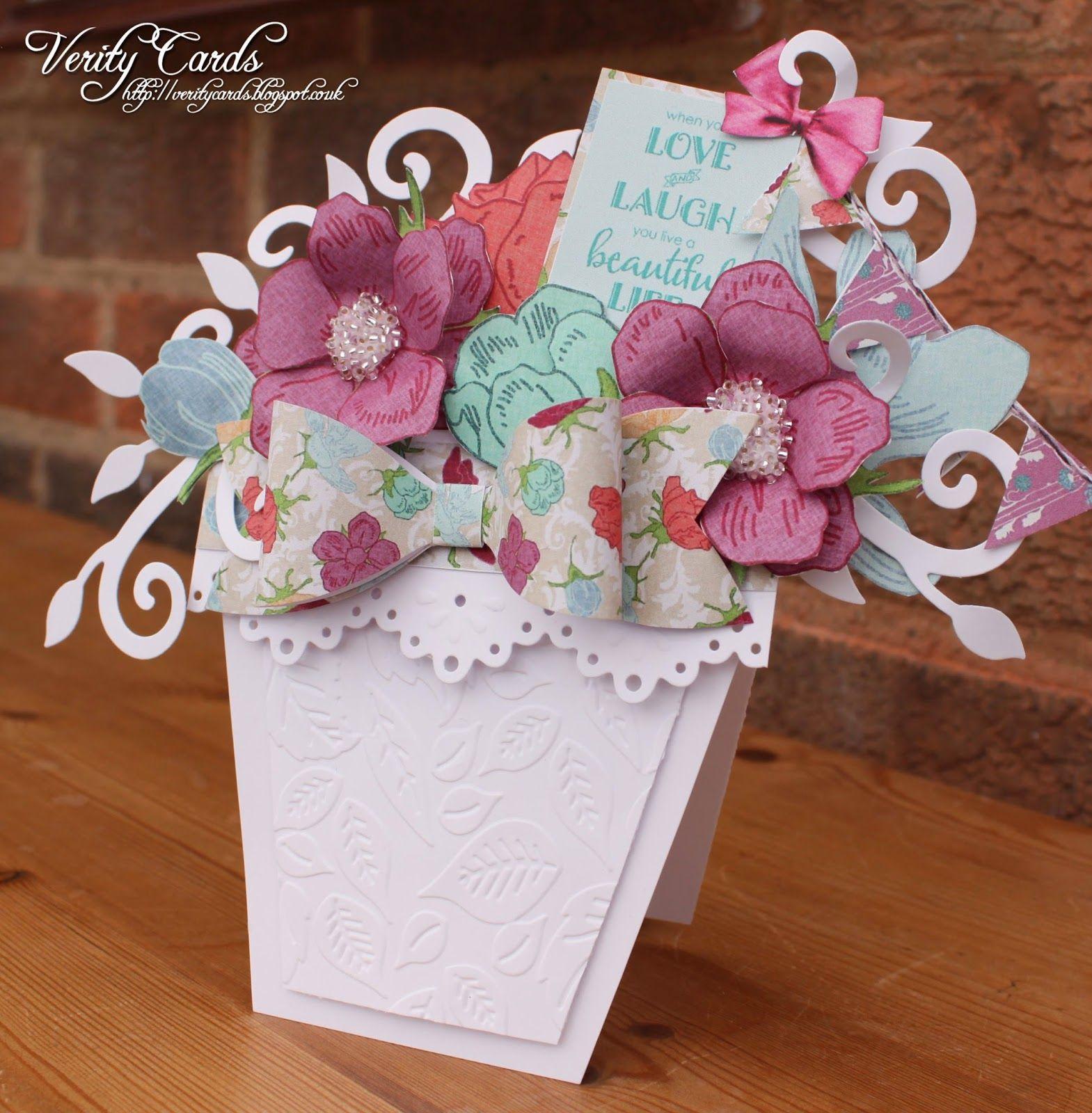 Flower pot of love shaped cards cards handmade diy