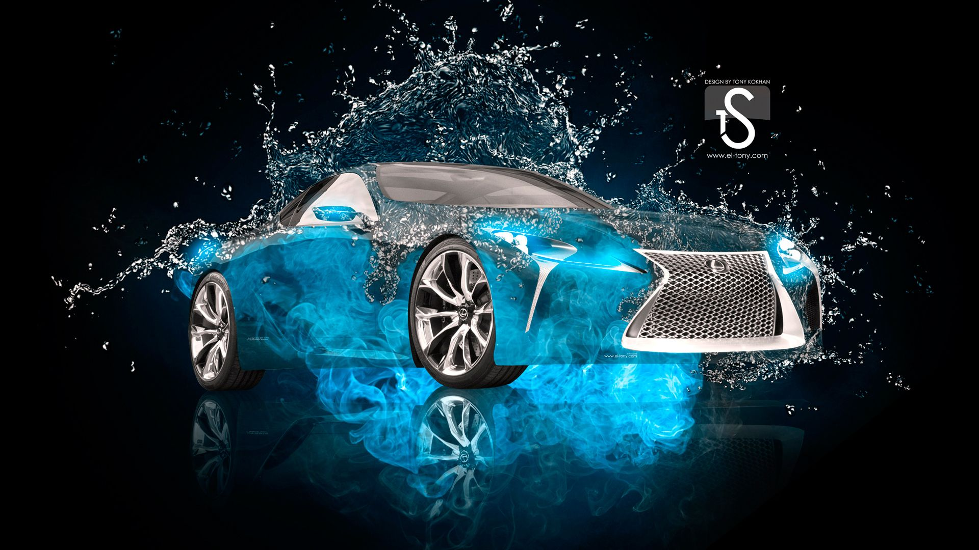 Lexus IF LC Hybrid Blue Water Photoshop Car