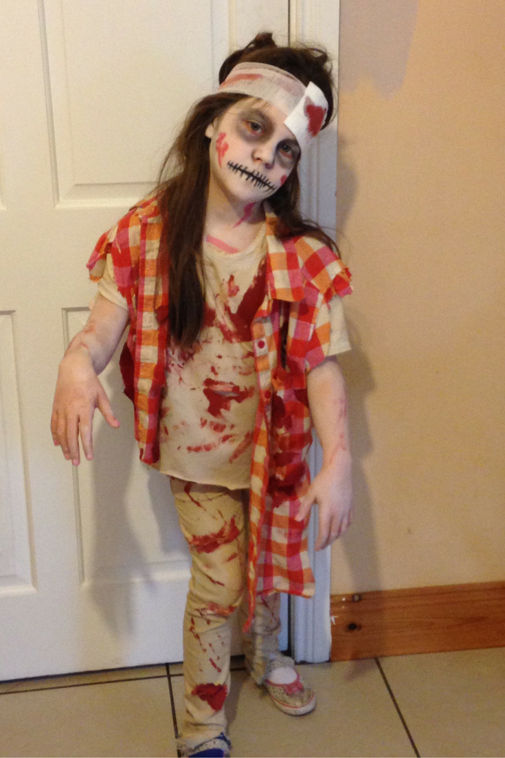 Abigail wearing her zombie costume!