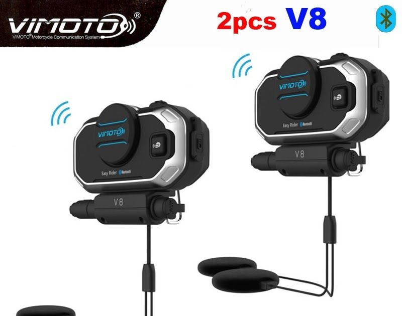Vimoto Motorcycle Helmet GPS Radios Wireless Bluetooth Intercom Headset 2 Rider
