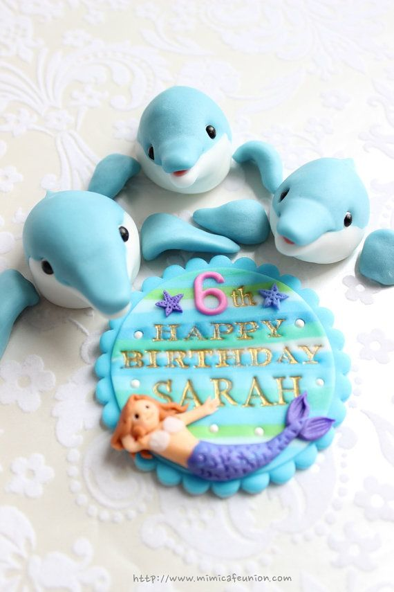 Dolphin Family Cupcake Toppers 8 Dolphins 3 Dolphin Fins 1
