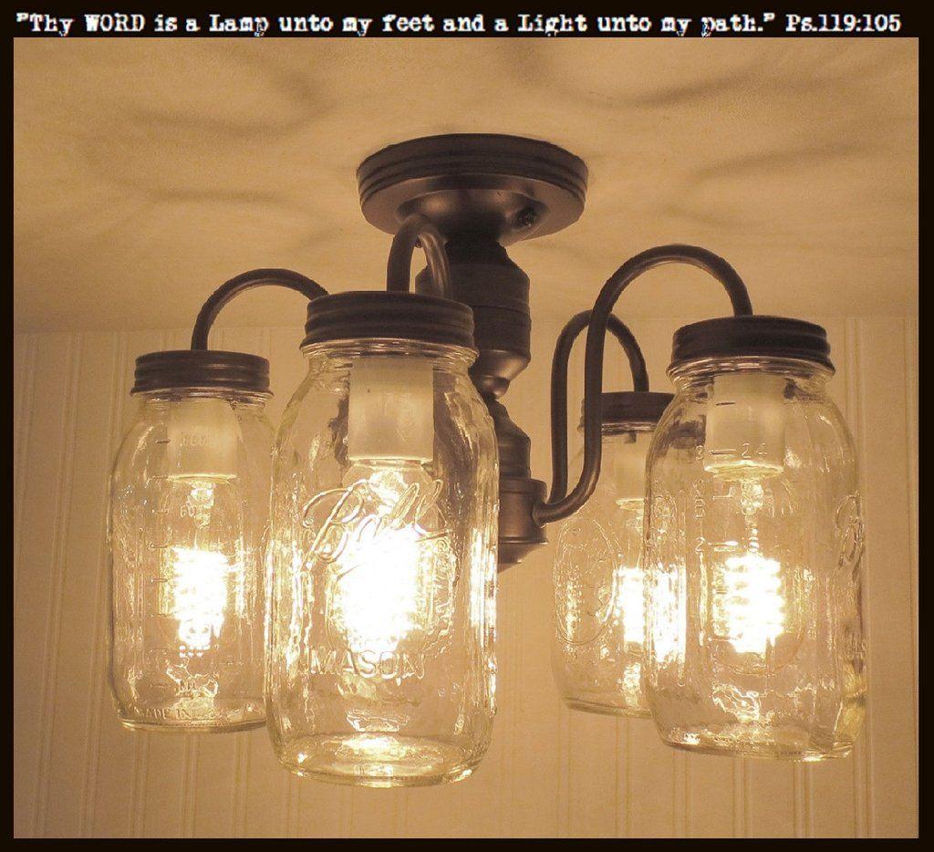 Mason Jar Flush Mount 5 Light Ceiling New Quarts Mason Jar Light Fixture Mason Jar Lighting Jar Lights