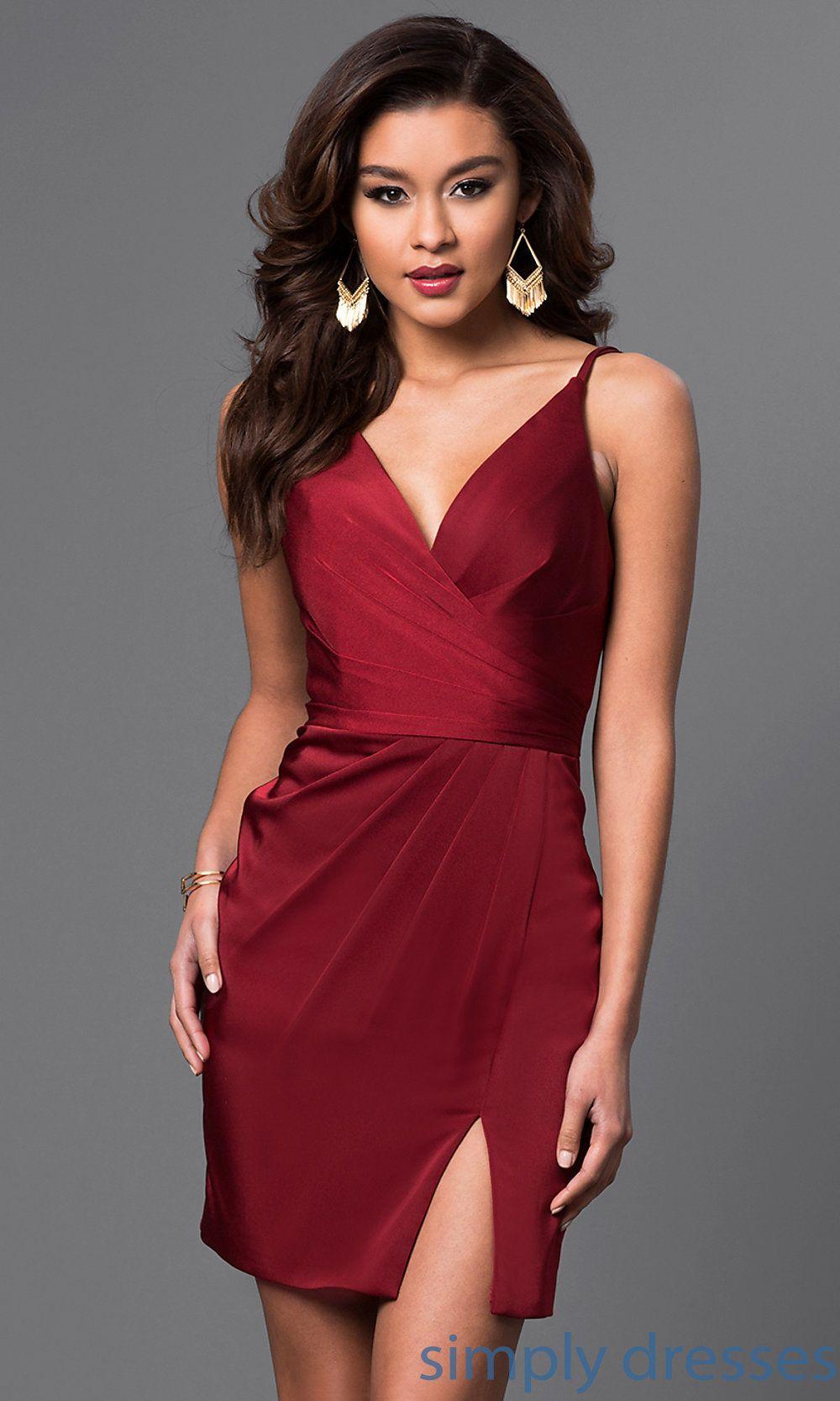 V Neck Backless Faviana Short Party Dress Faviana Dresses Short Dresses Short Satin Dress [ 1666 x 1000 Pixel ]