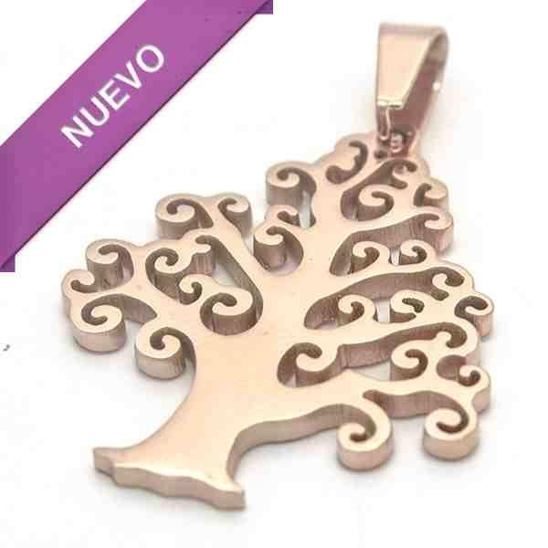 Joyas de Acero-Colgantes-PA0302. árbol de vida color cobre, símbolo de estabilidad, largo 4.3 cm