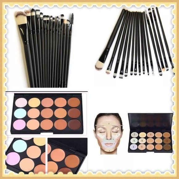 15 high quality make brushes & 15 color contour Eye Shadow Foundation Eyebrow Lip Brush Makeup Tools 5/15 pcs/Sets Cosmetic Kits 100% Brand New. Very Soft and Comfortable. Suitable for both professional and home use. Type: Makeup Brush Set Quantity: 15 Set Brush Material: Synthetic Hair Color: Black and 15 color contour kit Kabuki Makeup Brushes & Tools