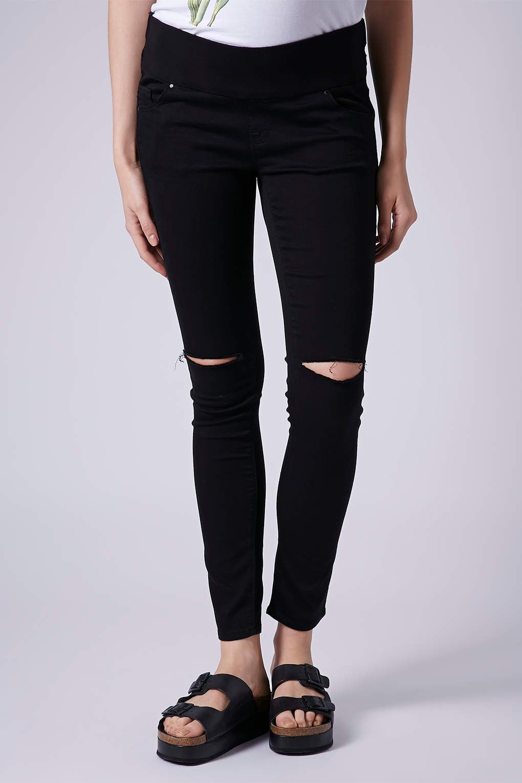 MATERNITY MOTO Black Ripped Leigh Jeans - Maternity Jeans ...