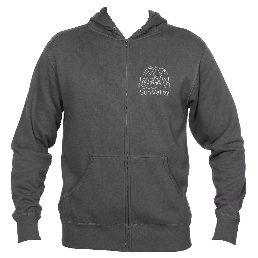 Sun Valley, Idaho Hand Drawn Mountain Setting - Men's Full-Zip Hooded Sweatshirt/Hoodie