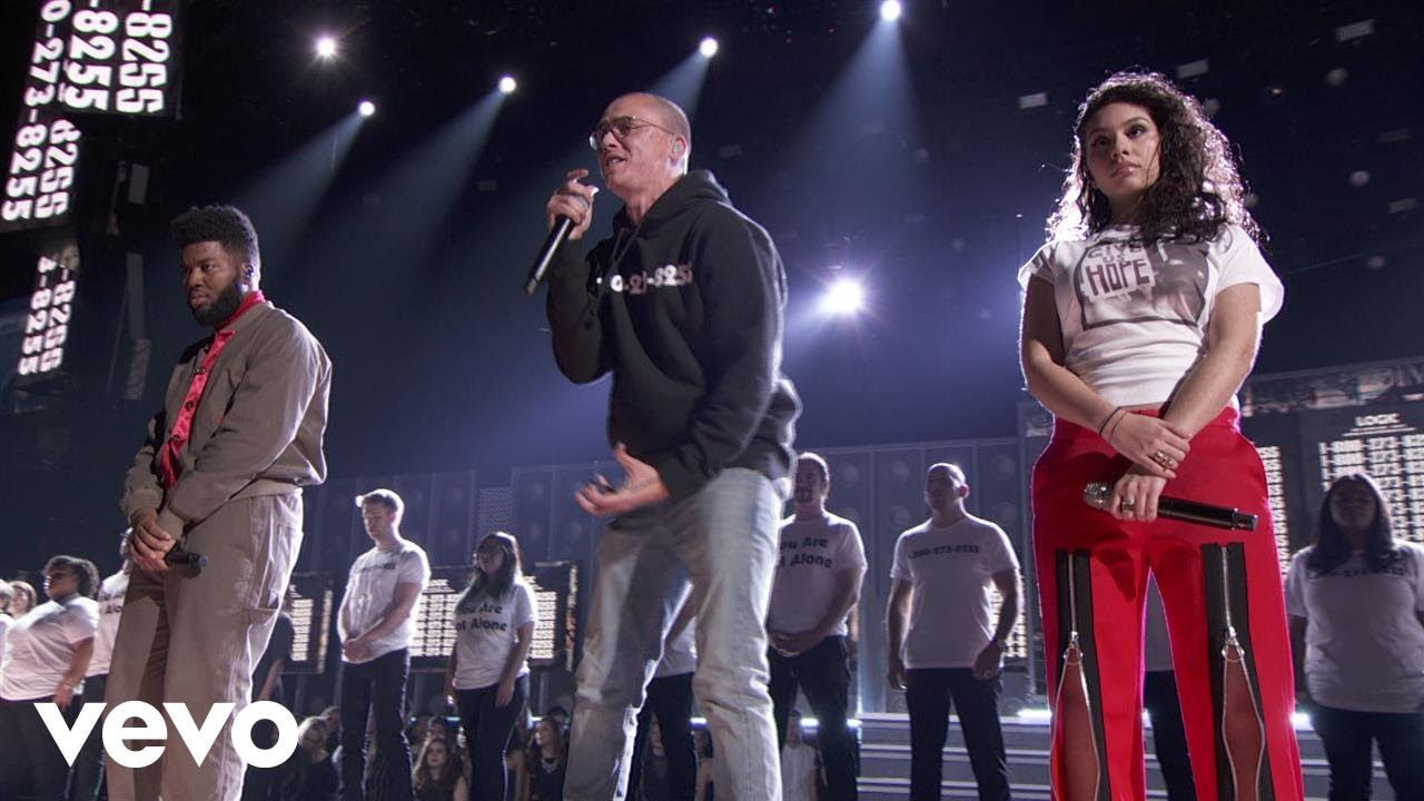 Logic 1 800 273 8255 Live From The 60th Grammys Ft Alessia Cara Khalid Youtube Alessia Cara Grammy Music Book