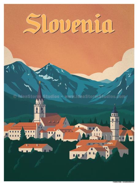 Slovenia Poster Retro Travel Poster Vintage Travel Posters Travel Posters