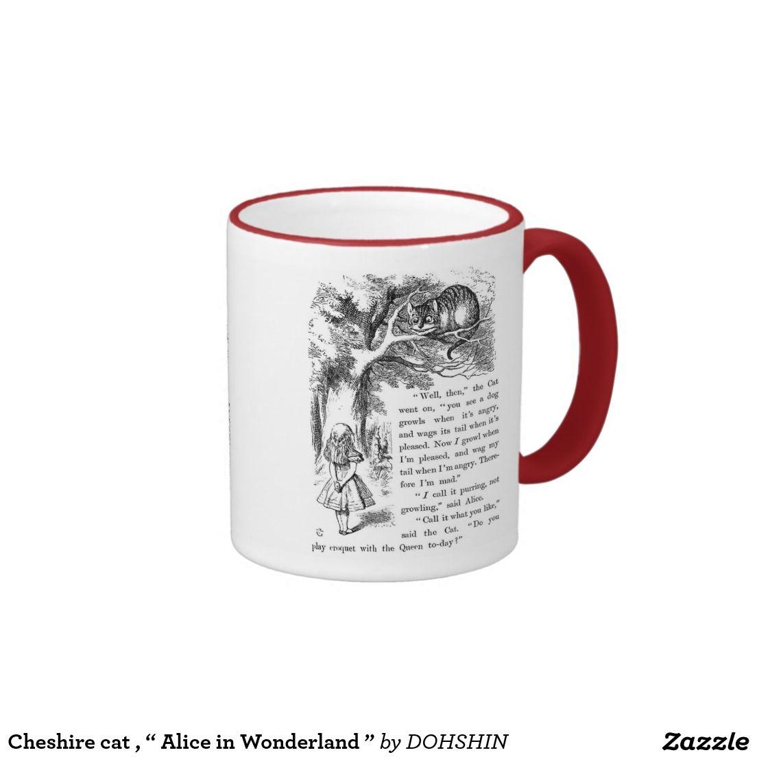 """Cheshire cat , """" Alice in Wonderland """" リンガーマグカップ"""
