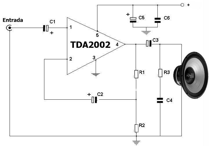 m u00f3dulo amplificador de  u00c1udio usando tda2002
