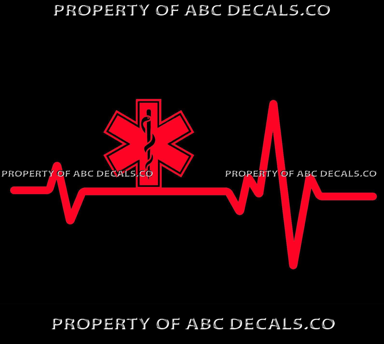 Vrs Heart Beat Line Star Of Life Emt Ambulance Medical Emergency Car Vinyl Decal Car Decals Vinyl Emergency Medical In A Heartbeat [ 1425 x 1590 Pixel ]