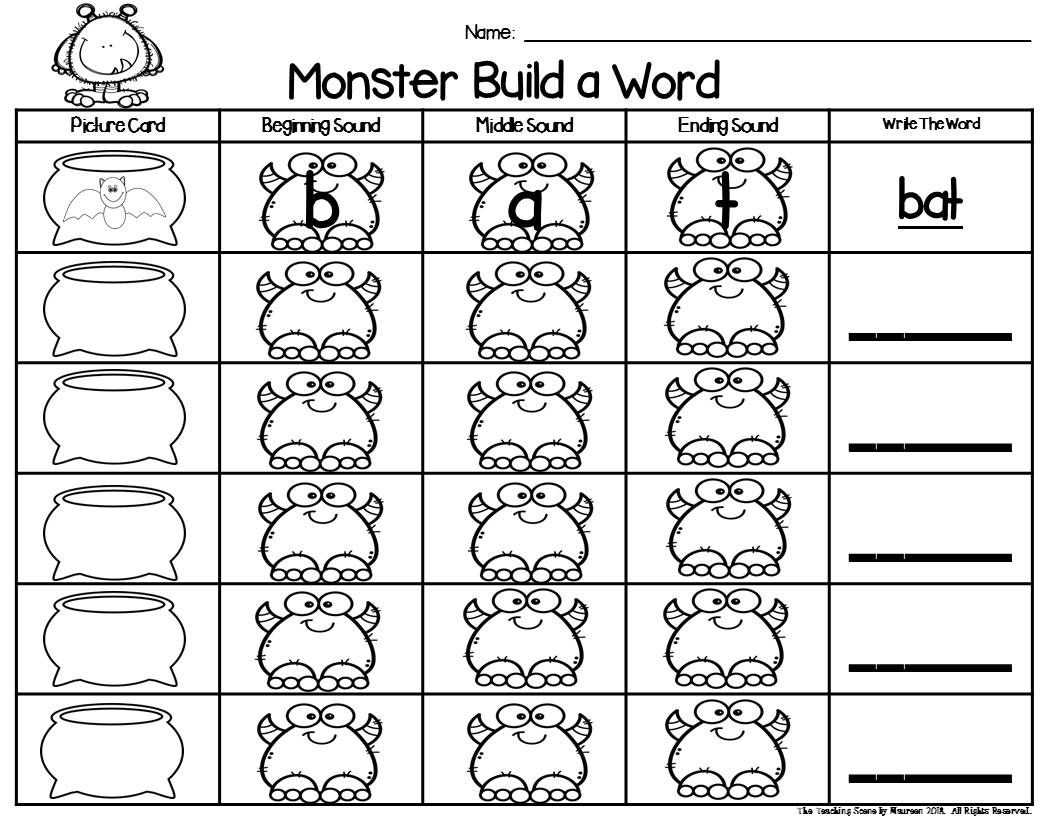 Monster Build A Word Phonics Center With Images