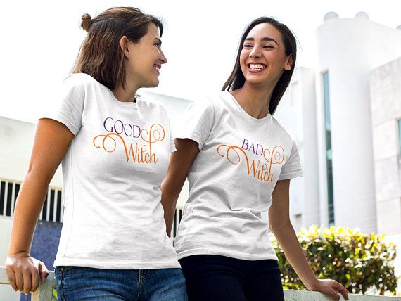 2f6ae81759 Matching Tees SET OF 2 Good Witch Bad Witch Twin Halloween T Shirts, Couples  Matching TShirt Set, Si