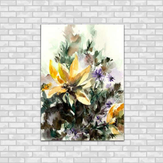 Yellow and Purple Flowers Original Watercolor by CanotStop on Etsy