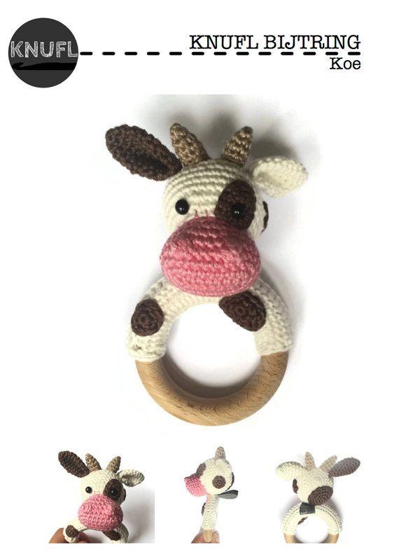 Crochet Pattern Rattle Cow Haakpatronen Häkeln Häkeln Ideen En