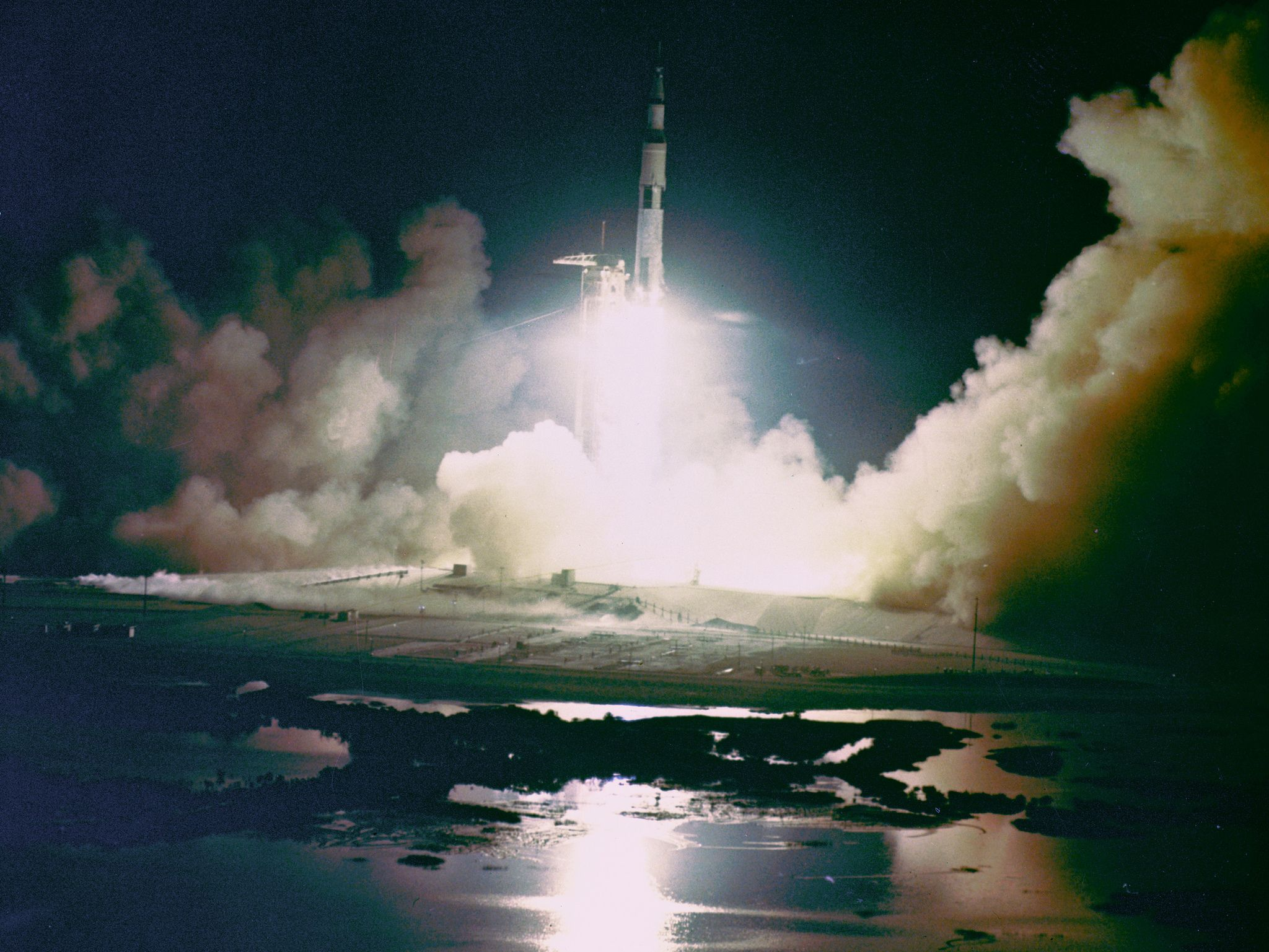 https://flic.kr/p/fpYaB5 | Apollo 17 Night Launch | Liftoff of the Apollo 17 Saturn V Moon Rocket from Pad A, Launch Complex 39, Kennedy Space Center, Florida, at 12:33 a.m., December 7, 1972. Apollo 17, the final lunar landing mission, was the first night launch of a Saturn V rocket.  Image # : S72-55070