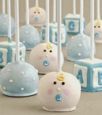 Really cute cake pops for baby boy shower