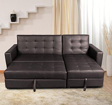 Homcom Deluxe Faux Leather Corner Sofa Bed Storage Sofabed Couch With Ottoman New Brown Co Uk Kitchen Home