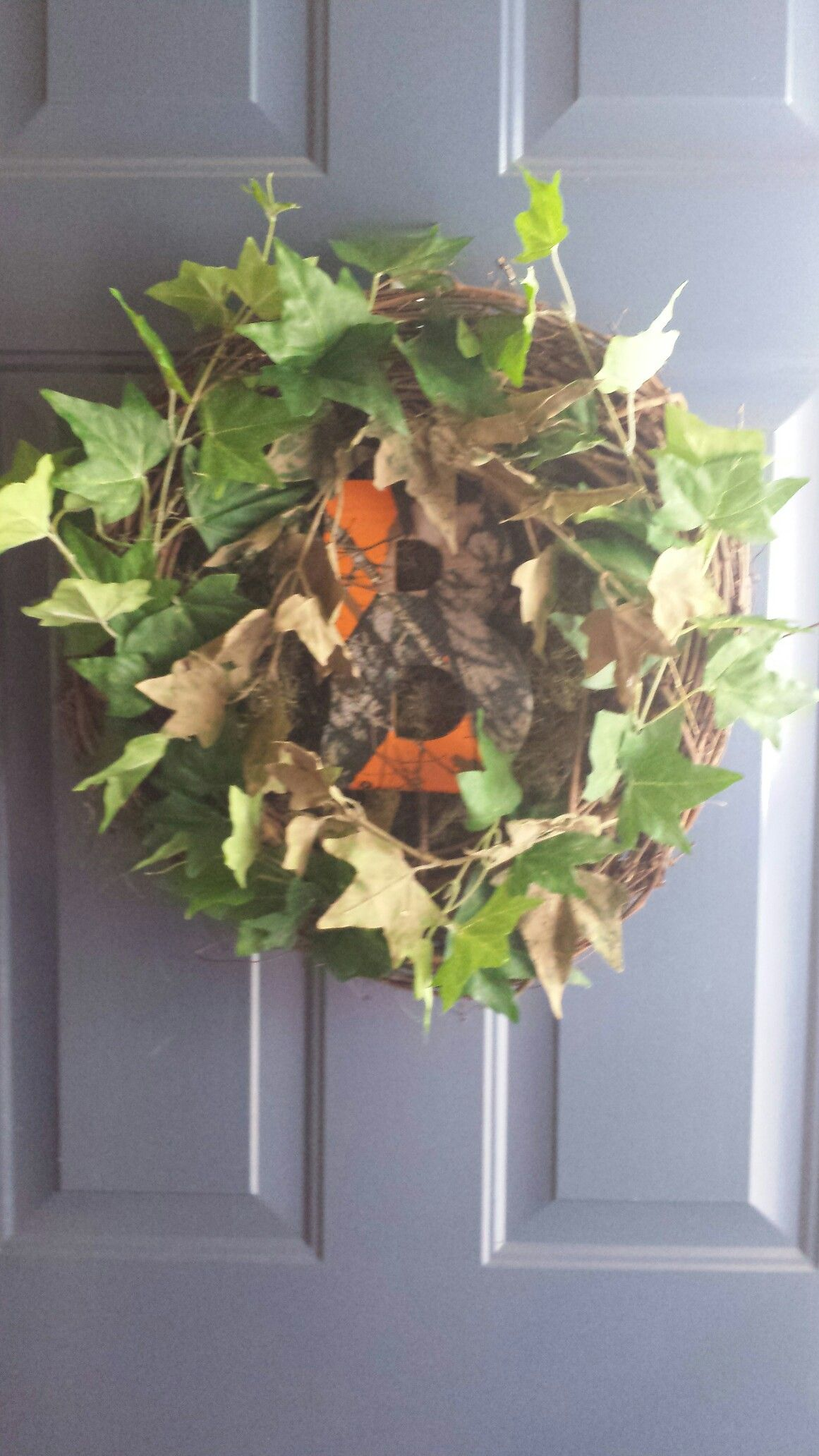 Homemade Camo Initial Wreath