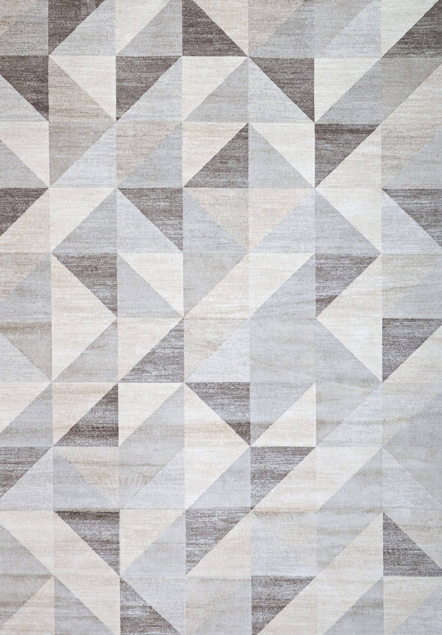 silver gray and white modern geometric triangle pattern rug