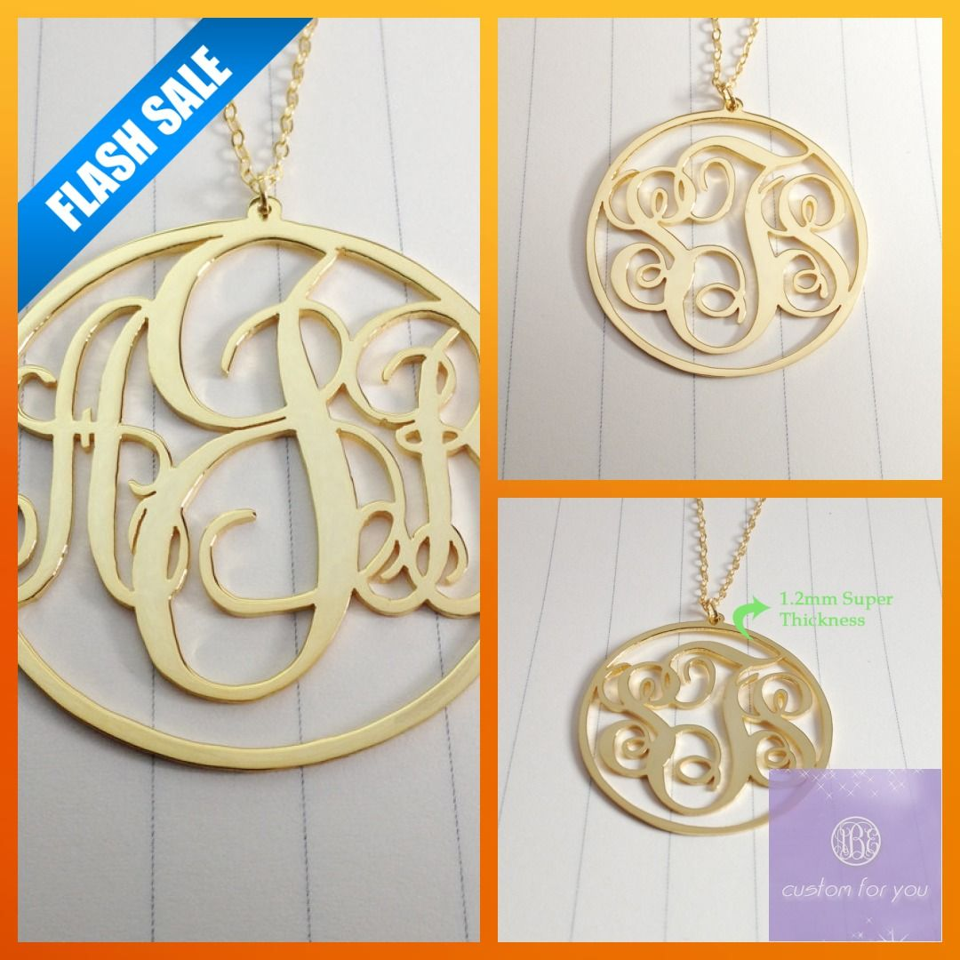 Circle Monogram Necklace,1.75 inch Personalized Monogram Necklace,Monogrammed Gifts,Gold Monogram Necklace,3 Initial Monogram Necklace