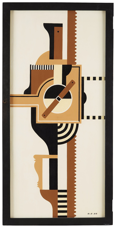 """OTTO G CARLSUND, """"Brun maskinist"""" (L'Operateur brun).  Signerad O.C. och daterad 26. Ripolin och olja på pannå, 123 x 55,5 cm. Av konstnären utförd ram, 130 x 65 cm."""