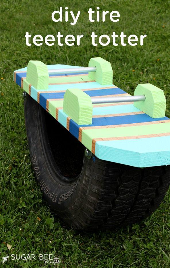 Tire Teeter Totter Diy For Kids Outdoor Kids Backyard For Kids