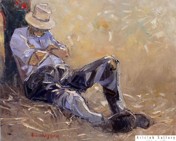 Moment de repos 61 x 50 cm | Peinture, Peinture dessin, Peintre