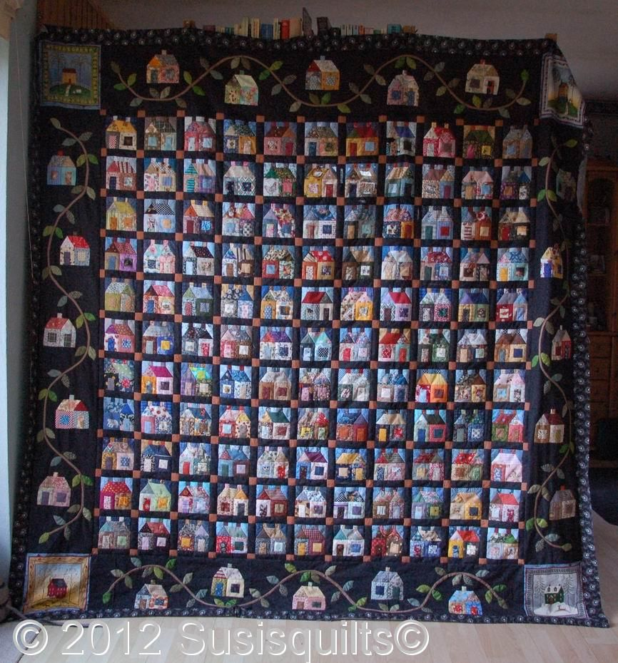 susis quilts: 141 houses and a leafy vine
