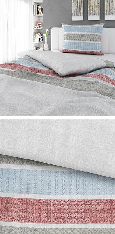 Graue Bettwäsche Mit Blauen Und Roten Streifen 140x200