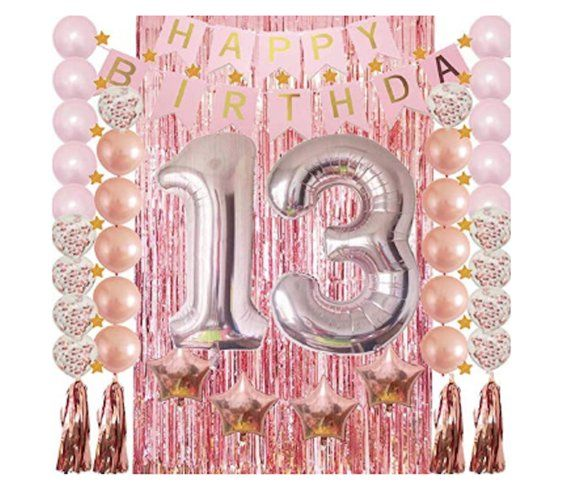 13th Birthday Decorations Rose Gold 13 Party Supplies Confetti Balloon Garland Fringe Curtains Happy Banner Photo Props