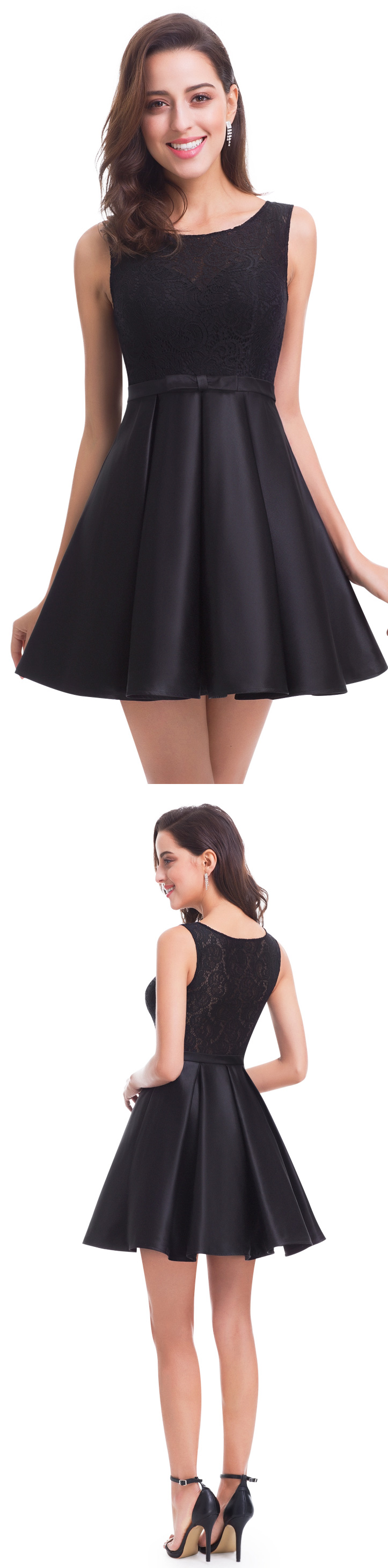 Black round neck fit and flare party dress party dress
