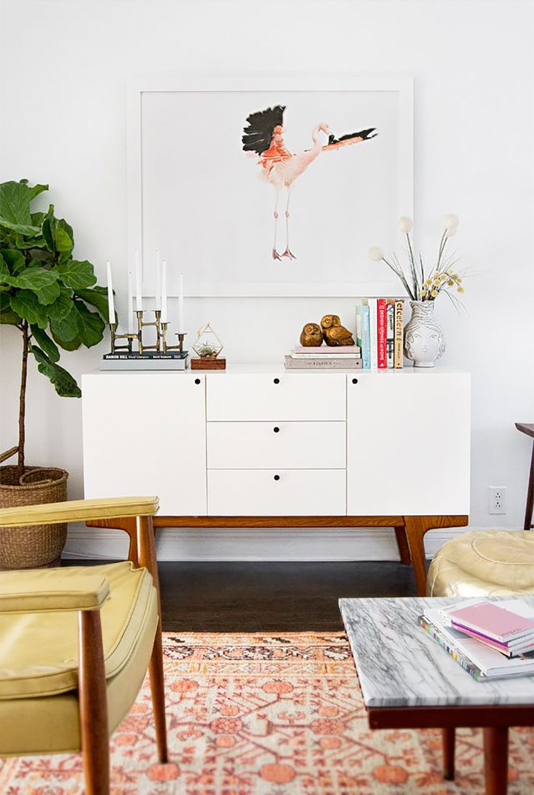 Living Room With Mid Century Credenza In White Color The Credenzas Are Fascinating Furniture Pieces Check more at http://www.wearefound.com/the-credenzas-are-fascinating-furniture-pieces/