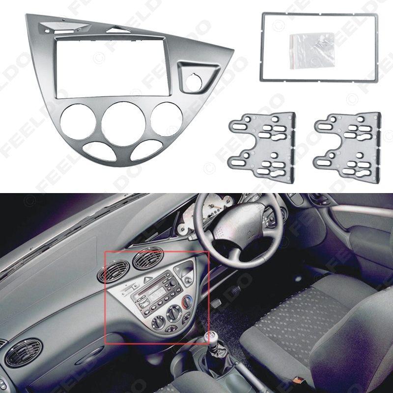 Silver Car 2din Stereo Panel Fascia Radio Refitting Dash Trim Kit For Ford Focus 98 04 Rhd Fiesta 95 01 Rhd Fd 5038 Silver Car Ford Focus Trim Kit