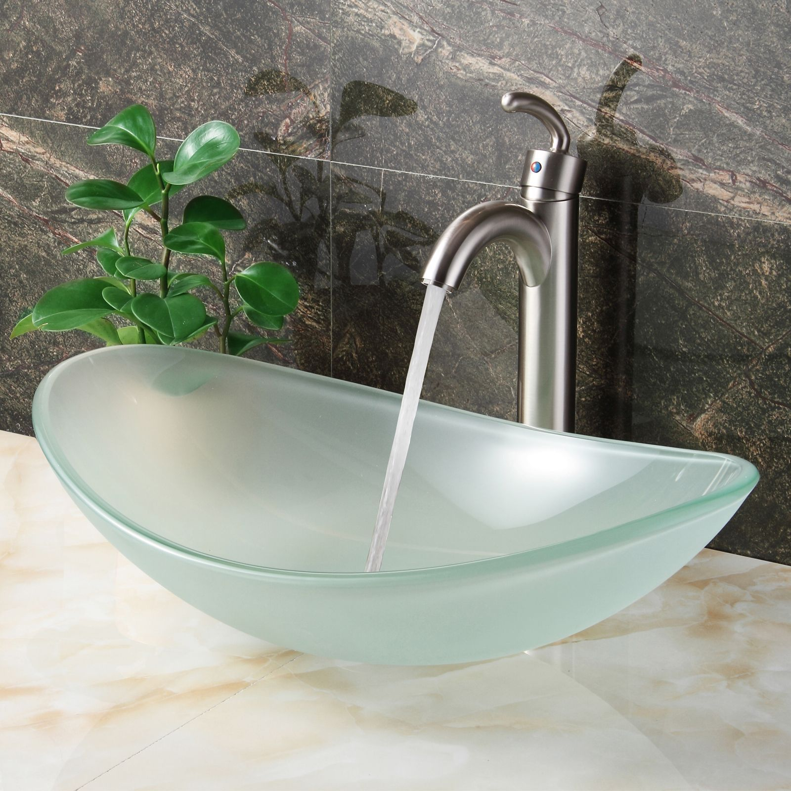 Elite Oval Shape Frosted Tempered Bathroom Glass Vessel Sink and
