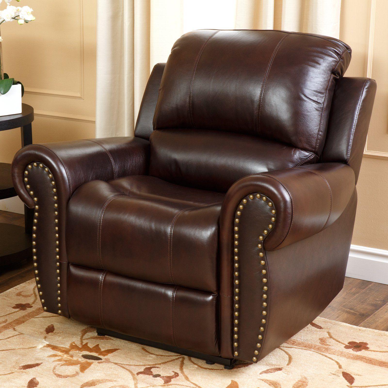 Abbyson Living Lexington Italian Leather Reclining Chair With Nailheads 994 95 Hayneedle