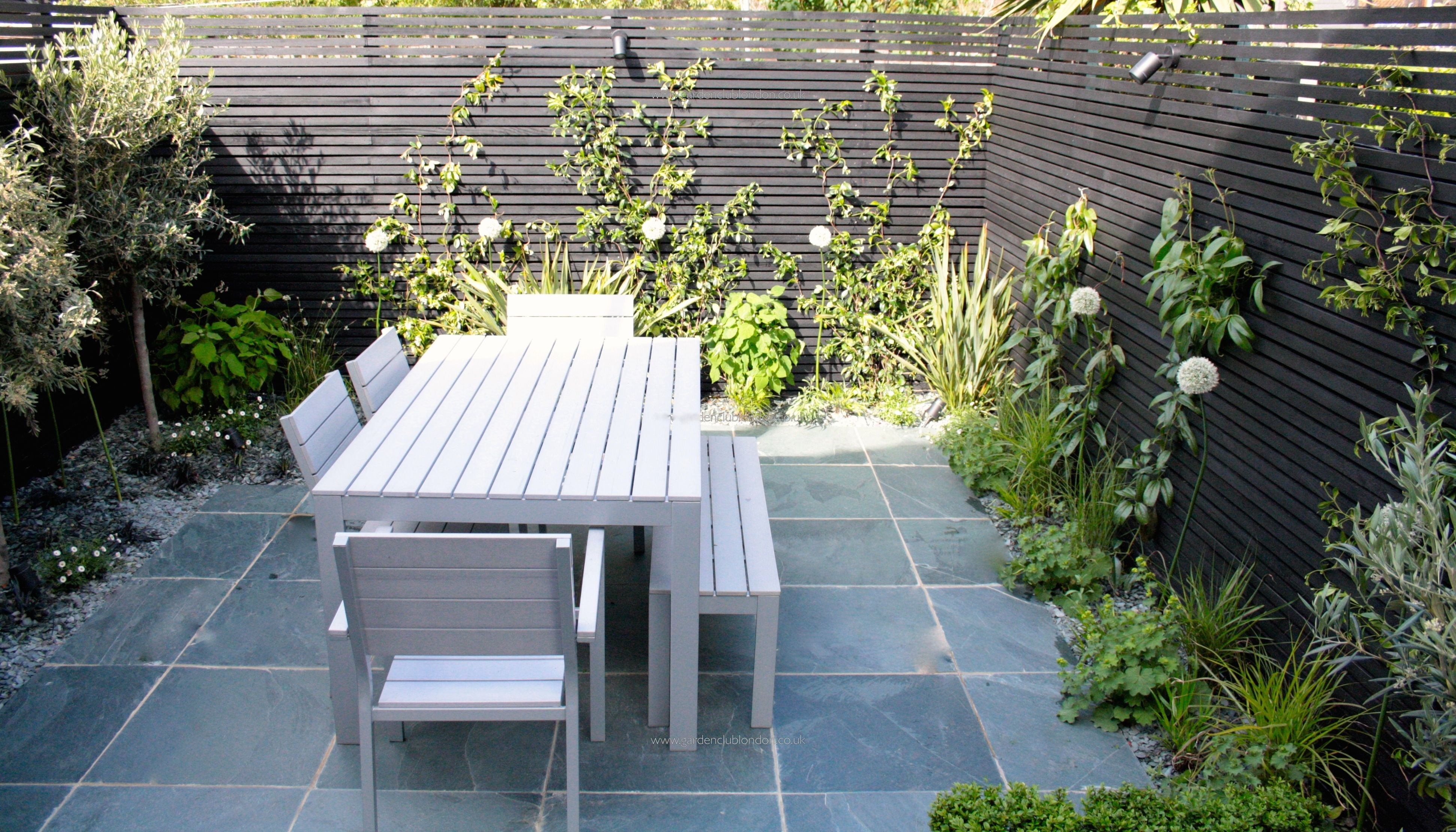Small modern garden design for urban garden in London with