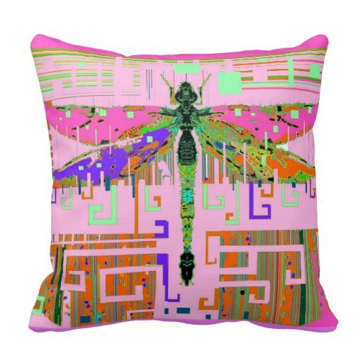 Dragonfly Pink Dreams by Sharles Throw Pillows