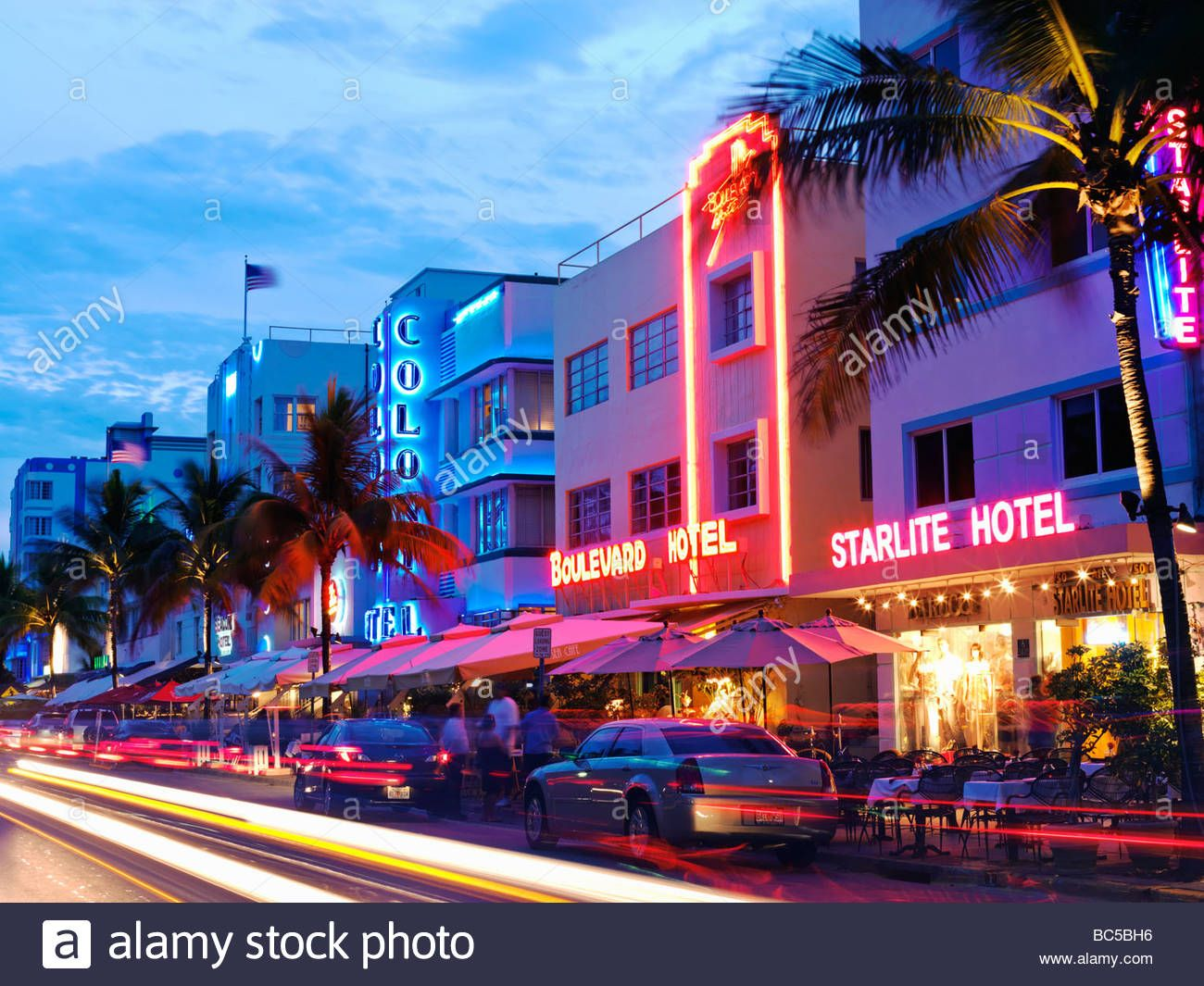 This Stock Image South Beach Miami Restaurants At Night On Ocean Drive Art Deco Hotels Bc5bh6 From Alamy S Library Of Millions High
