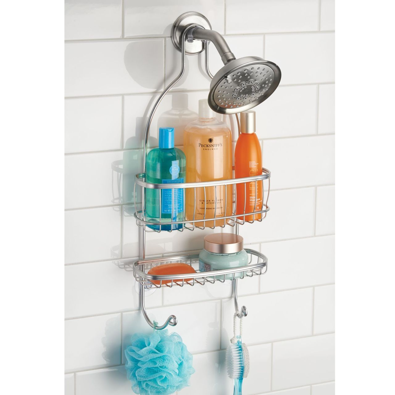 Metal Hanging Bathroom Tub/Shower Storage Caddy in Graphite, by mDesign