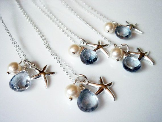 5 Beach Theme Wedding Starfish Blue Quartz 925 Necklace Bridesmaid