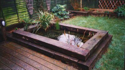 Railway sleeper pond yard ideas sleepers in garden for Garden pond design using sleepers