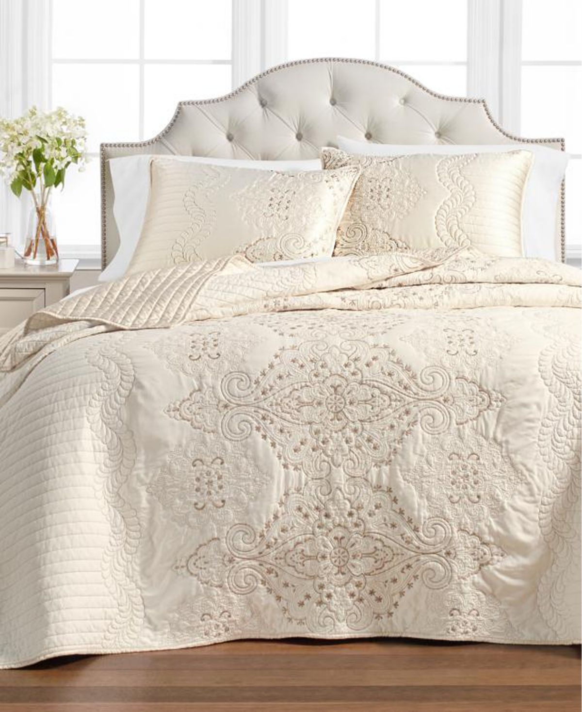 Martha Stewart Collection Column Embroidery Twin Bedspread ...